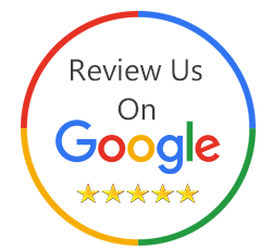 review us on google, icon that says review us on google with 5 stars underneath